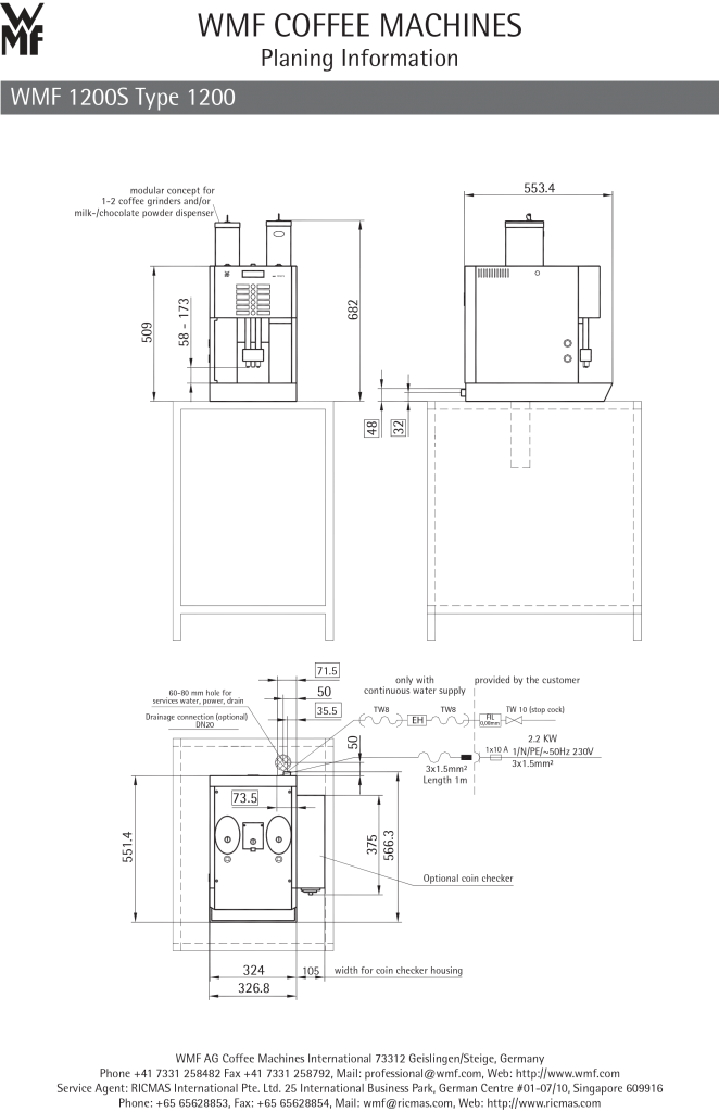 dữ liệu Máy pha cafe Đức WMF 1200S