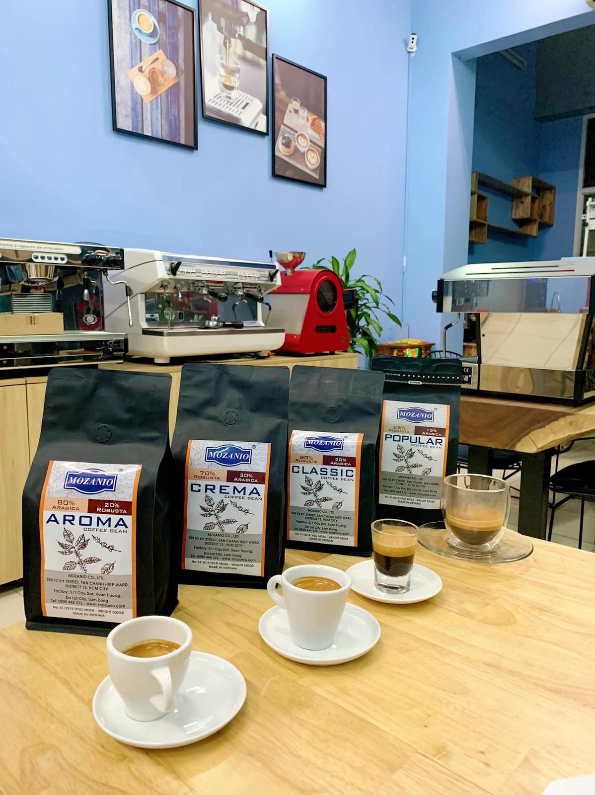 Mozanio có 4 loại cafe hạt